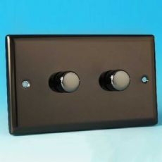 Varilight 2 Gang 2 Way 2x600W Push on/off Dimmer (Twin Plate) Iridium Black HI62